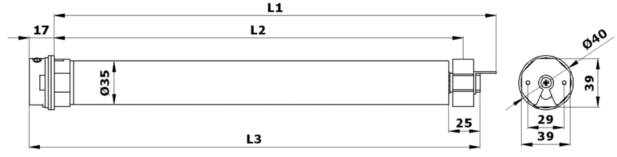 Габаритные размеры приводов AM0/(R)D